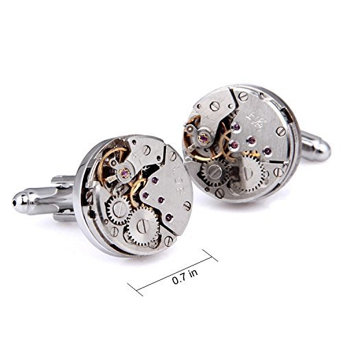 RXBC2011 Upgraded Version Deluxe Steampunk Watch Mens Vintage Watch Movement Shape Cufflinks Come in an Elegant Storage Display Box (with GIFTBOX) by RXBC2011 (Image #2)