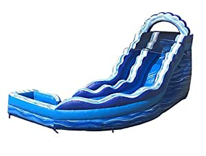 TentandTable Rhino 17-Foot Blue Marble Inflatable Curve Water Slide, Wet or Dry, Commercial Grade, 1.5 HP Blower and Stakes Included