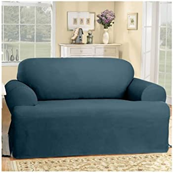 Great Sure Fit Duck Solid T Cushion   Sofa Slipcover   Bluestone (SF33061)