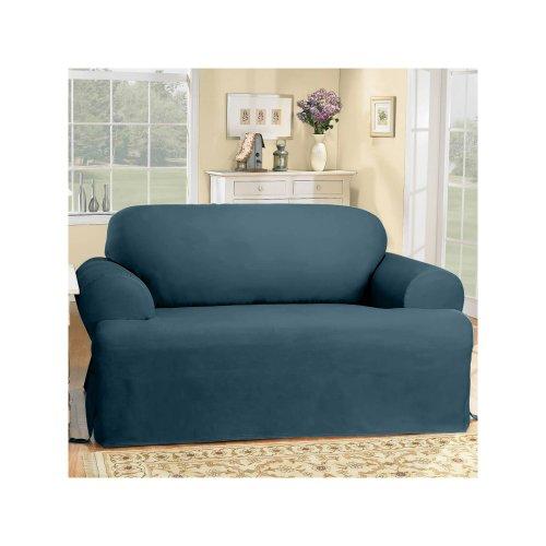 SureFit Duck Solid T-Cushion - Sofa Slipcover  - Bluestone (SF33061)