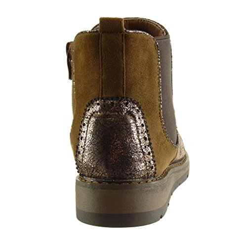 Seams Fashion Boots Perforated Shoes Shiny Material Booty Finish Boots Wedge Chelsea Camel 3 cm Women's Topstitching Platform Ankle Angkorly Bi 5Znw6