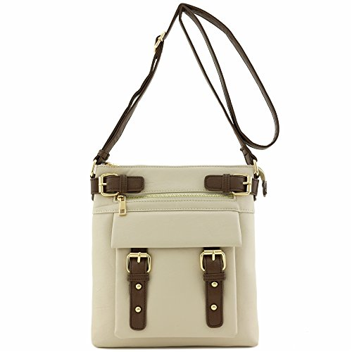 Front Buckles Crossbody with Bag Medium Pocket Beige Accent Bw8qBTRxf