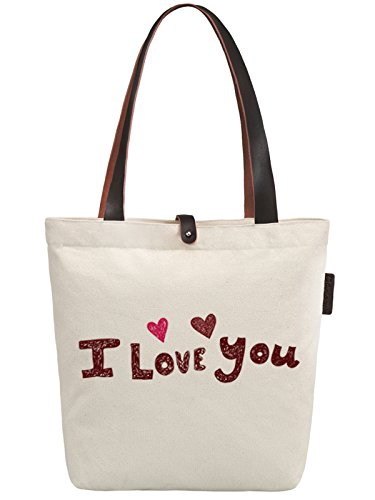 So'each Women's I Love You Letters Graphic Canvas Handbag Tote Shoulder Bag