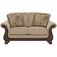 Lanett Collection 4490035 68 Loveseat with Fabric Upholstery Piped Stitching Carved Detailing and Traditional Style in Barley