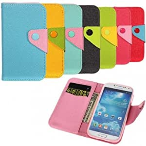 Contrast Color Flip-open Wallet Case For Samsung Galaxy S4 i9500 --- Color:Yellow