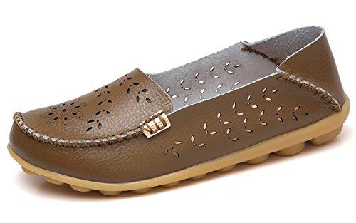 VenusCelia Women's Breathable Natural Walking Flat Loafer(10 M US,Khaki)