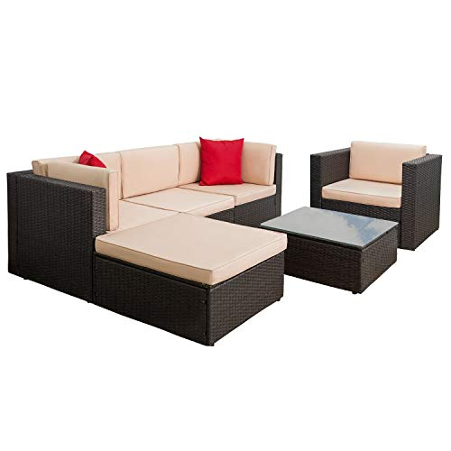 Tuoze 6 Pieces Patio Furniture Sectional Set Outdoor All-Weather PE Rattan Wicker Lawn Conversation Sets Cushioned Garden Sofa Set with Glass Coffee Table (Brown)