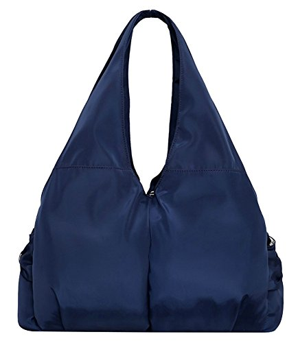 Nylon Capacity Hobo Shoulder Bag Tote Waterproof Blue Large Multi Handbag Women Pocket qI7X1H