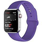 Kaome Compatible with Apple Watch Band 44mm 42mm,Soft Strap Sport Band for iWatch Series 4, Series 3, Series 2, and Series 1(M/L,Purple)