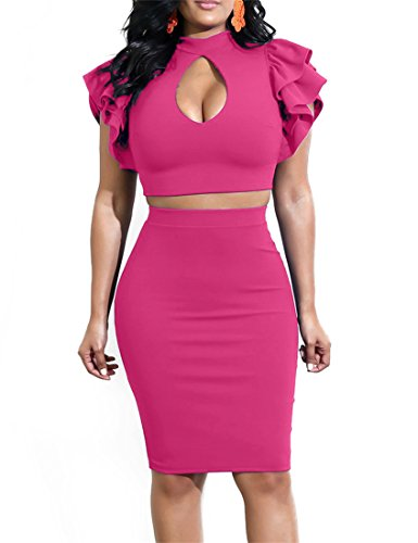 Mokoru Women's Cut Out Tiered Ruffle Sleeve Sexy 2 Piece Bodycon Midi Club Dress, X-Large, Rose (Bodycon Club Skirt)