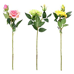 Artificial Flowers,Real Touch Artificial Fake Latex Rose Dried Flowers Wedding Bouquet Decor 61