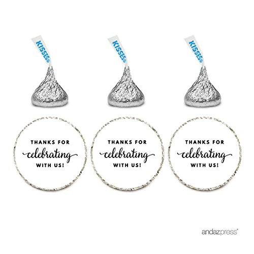 Andaz Press Chocolate Drop Labels Trio, Fits Hershey's Kisses Party Favors, Thanks for Celebrating With Us, White, 216-Pack