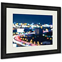 Ashley Framed Prints, Blue Twilight Sky City Road Curved And Downtown Cityscape, Wall Art Decor Giclee Photo Print In Black Wood Frame, Ready to hang, 16x20 Art, AG6381913