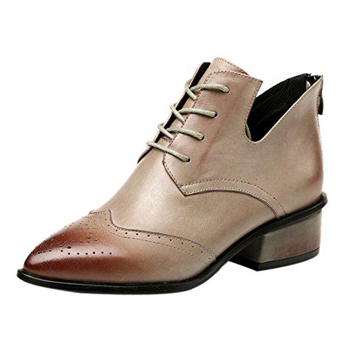 Frauen Boots Wohnung niedrigem Ankle Absatz mit Leather Riding neue Schnuerschuhe Grau Martin Winter 5twqO0O