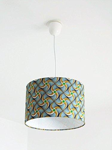 Lustre suspension plafonnier abat-jour wax africain Luminaire diamètre personnalisé cylindre rond idée cadeau anniversaire décoration tendance fête des mères