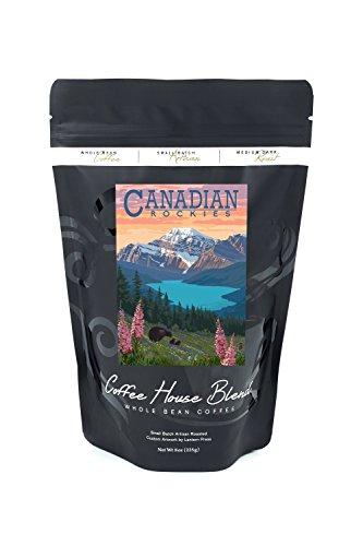 Canadian Rockies - Bear and Spring Flowers (8oz Whole Bean Small Batch Artisan Coffee - Bold & Strong Medium Dark Roast w/Artwork)
