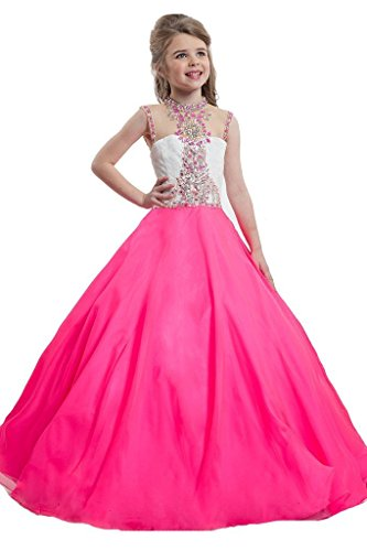 [WZY Big Girls Illusion Neckline Pageant Gown Kids Party Ball Gowns Girls Pageant Dresses 12 US Neon] (Neon Party Dresses)