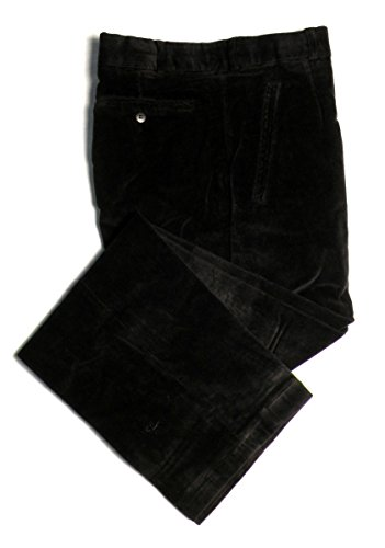 (TCM Stretch Corduroy Lined Dress Pants For Men - Flat Front, Midnight Black, 32)