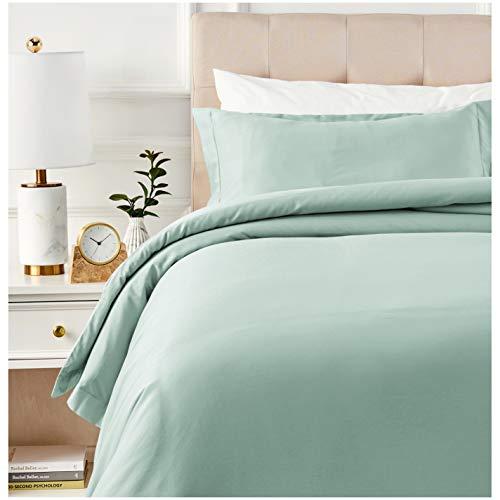AmazonBasics 400 Thread Count Cotton Duvet Cover Set with Sateen Finish - Twin, Seafoam Green (Twin Green Duvet)