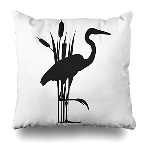 Ahawoso Decorative Throw Pillow Cover Heron Abstract Wirh Reed Black Natural Beak Big Bill Bird Design Contour Home Decor Pillowcase Square Size 16