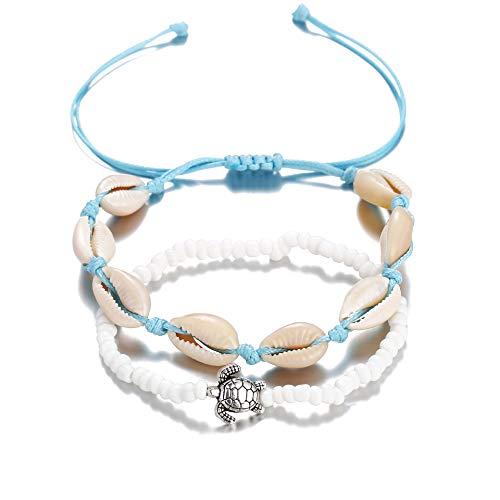 Filluck Cowrie Shell Anklet Bracelet Turquoises Shell Bracelet Handmade Adjustable Boho Beach Jewelry Set for Women Girls -