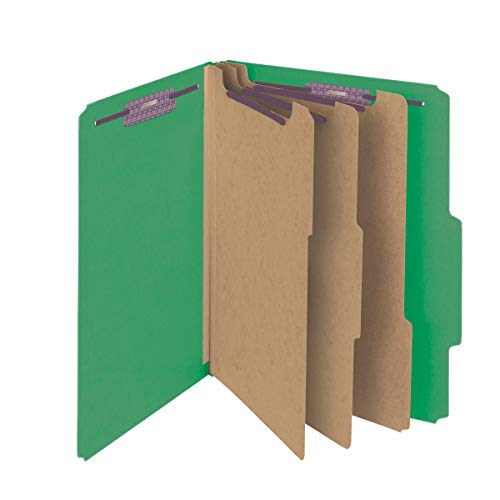 Section Top Tab Classification Folders - Smead Pressboard Classification File Folder with SafeSHIELD Fasteners, 3 Dividers, 3