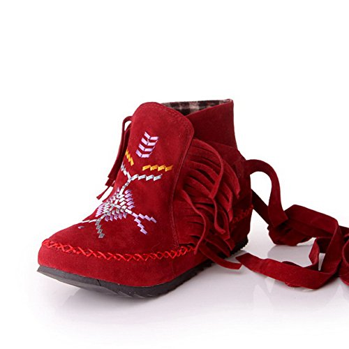 WeiPoot Women's Frosted Assorted Color Closed-Toe Boots with Tassels, Red, 35