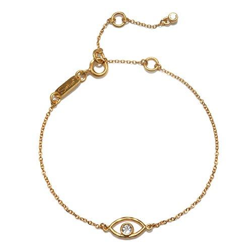 (Satya Jewelry Evil Eye Gold Charm Bracelet Adjustable, Gold, One Size)