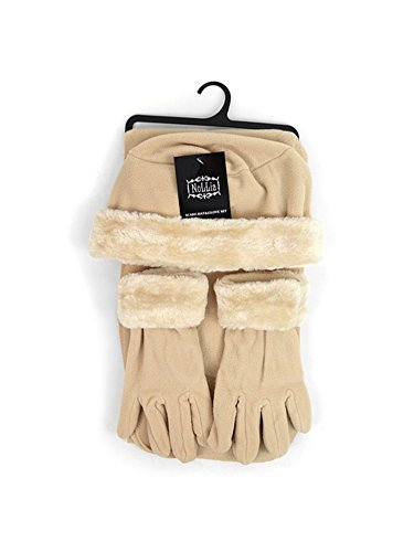 Price comparison product image Girl's 10-16 Beige Faux Fur Trimmed Matching Gloves & Scarf Winter Set