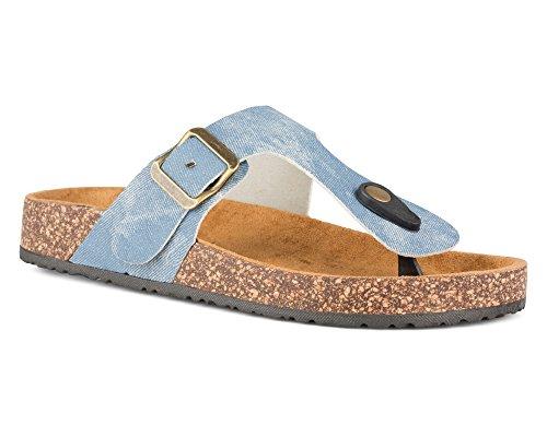(Twisted Women's Payton Cork Sole Thong Sandal - PAYTON58 LT.Denim, Size)
