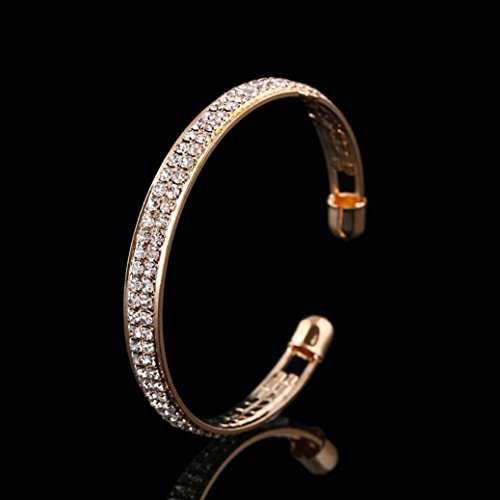 Crystal Dollar Sign (Botrong Womens Crystal Rhinestone Open Bangle Cuff Bracelet Jewelry Gift (Gold))