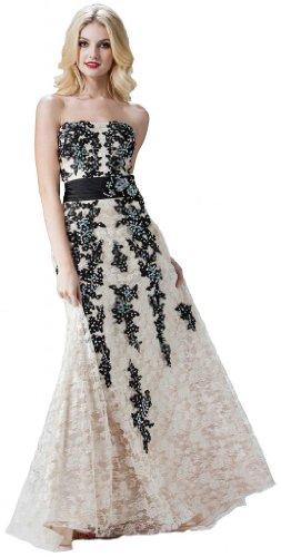 Meier Women's Long Strapless Lace Formal Gown Evening Dress-6
