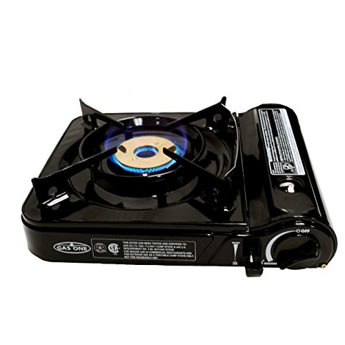 GAS ONE GS-3800DF Brass Head Burner with Dual Spiral Flame 11,000 BTU Portable Gas Stove with Heavy Duty Clear Carrying Case, CSA Listed