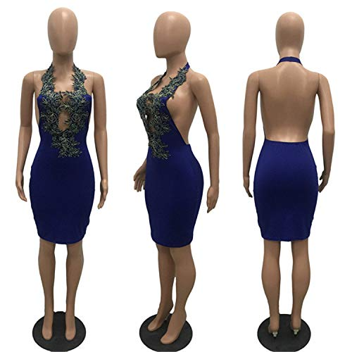 Kaured Fashion Pencil DressLace EmbroiderHalter Deep V-Neck Backless,X-Large,Blue - Evening Glove : Collection Apparel