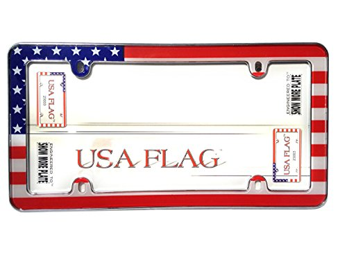 - Cruiser Accessories 23003 USA Flag License Plate Frame, Chrome