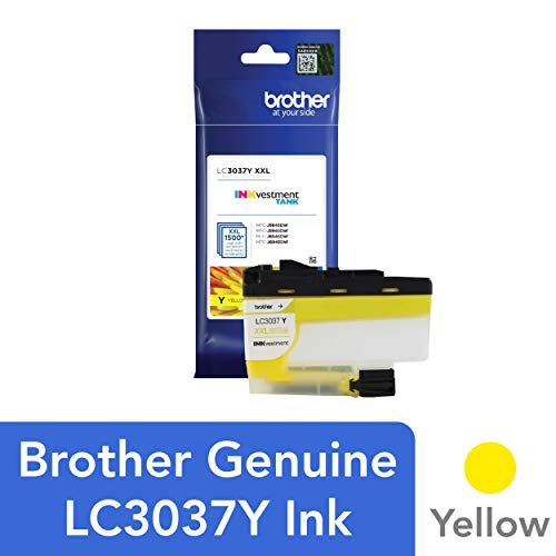 Brother Genuine LC3037Y, Single Pack Super High-Yield Yellow INKvestment Tank Ink Cartridge, Page Yield Up to 1,500 Pages, LC3037