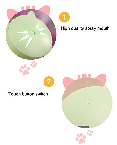 150ml Cute Cat humidifier,Portable USB LED Glowing Humidifier Essential Oil Diffuser Aromatherapy for Car, Office, Home Bedroom Living Room Study Yoga Spa (black)