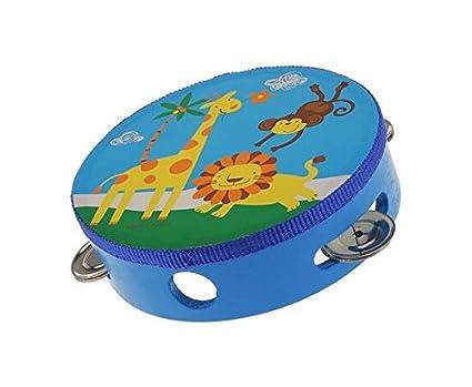 Wiwi.f Strumento a Percussione per Bambini Tamburello in Pelle di Pecora Tamburello Bambino Diametro 15 cm