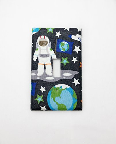 Space Man Fabric Covered Single Light Switch cover / Switch Plate / Kid's Bedroom / Nursery Decor / Baby Shower Gift / Home Decor / Lighting / Wall Art / Earth / Astronaut