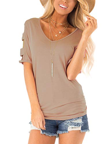 Lady T-shirt Sophisticated The - Eanklosco Womens Summer Short Sleeve Cold Shoulder Tops V Neck Basic T Shirts (Light Coffe, L)