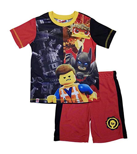 LEGO Big Movie 2 Boys Pajama, 2 Piece P J Set, Short Sleeve, Black Red, 8