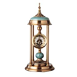 Edge to Shelf Clock American Table Clock European Style Living Room Clock Decoration Creative Desktop Metal Clock Decoration Retro Seat Clock Decoration (Color : 1)