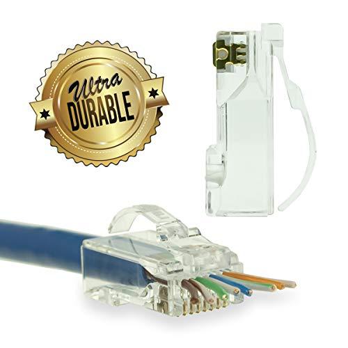 LINKUP - Snagless RJ45 Cat6 UTP Connectors EZ Pass Through Ends | Ethernet Cat 6 8P8C Solid Plug | UTP Gigabit Round Cable Connector | Platinum 50 Mi Gold Plated High Performance | 100 Pack