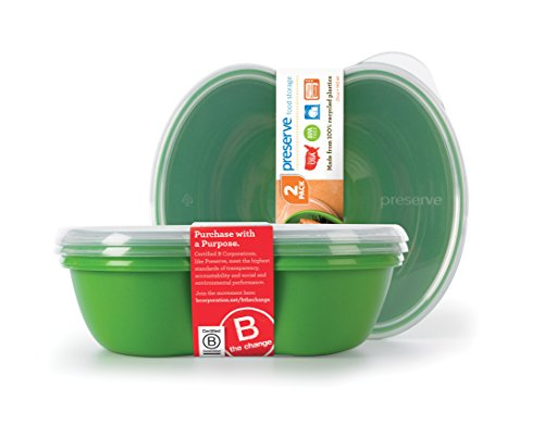 Preserve Square Food Storage Container Made from Recycled Plastic, 25 Ounce Capacity, Set of Two, Apple Green (Dining Athena Set)