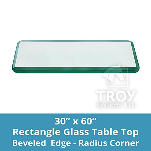 TroySys T30X60RE12MMBEAN-R Glass Table Top, Bevel Polished Edge, Radius Corners, Annealed, Rectangle, 30''L x 60''W by TroySys