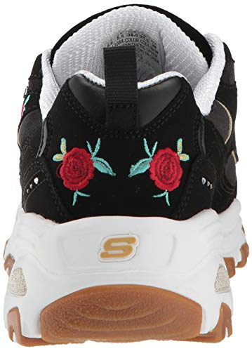 Black D'lites Bloom white Rose Nero Sneaker Donna Skechers zZq1YY