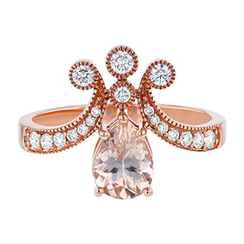 14K Rose Gold Pear Shape Morganite and Diamond Engagement Ring (1/3 cttw, H-I, I1) (7) from Olivia Paris