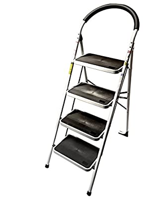 StepUp Upper Reach Heavy Duty Steel Reinforced Folding 4 Step Ladder Stool - 330 lbs Capacity
