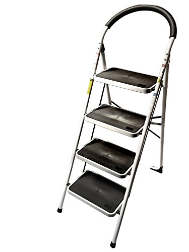 StepUp Upper Reach Heavy Duty Steel Reinforced Folding 4 Step Ladder Stool - 330 lbs Capacity