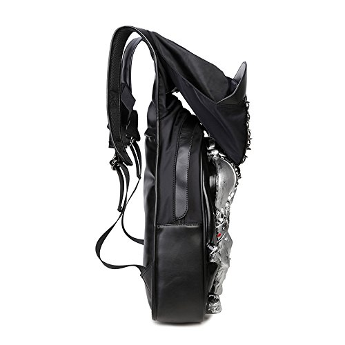 Travel Shoulder Pu Adults Computer Rock Halloween Double 2 Leisure Bag Silver Backpack Unisex BdTwd10q